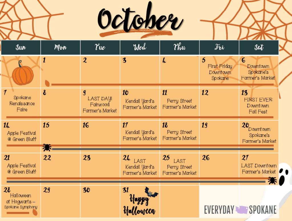 everyday spokane october calendar image
