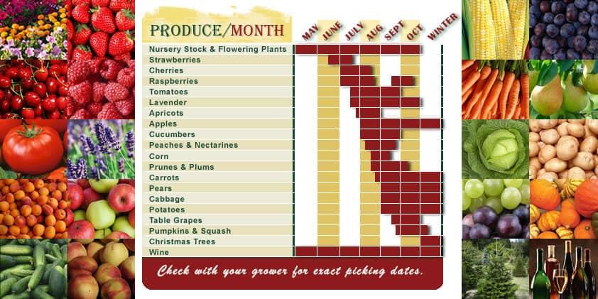 image of Green Bluff produce calendar