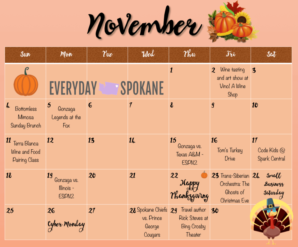 image of Spokane November calendar of events