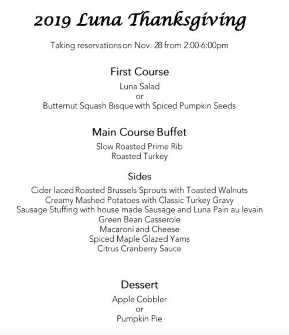 luna spokane thanksgiving menu
