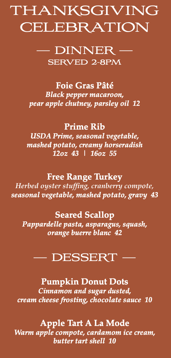 Thanksgiving Dinner Menu at Masselow's