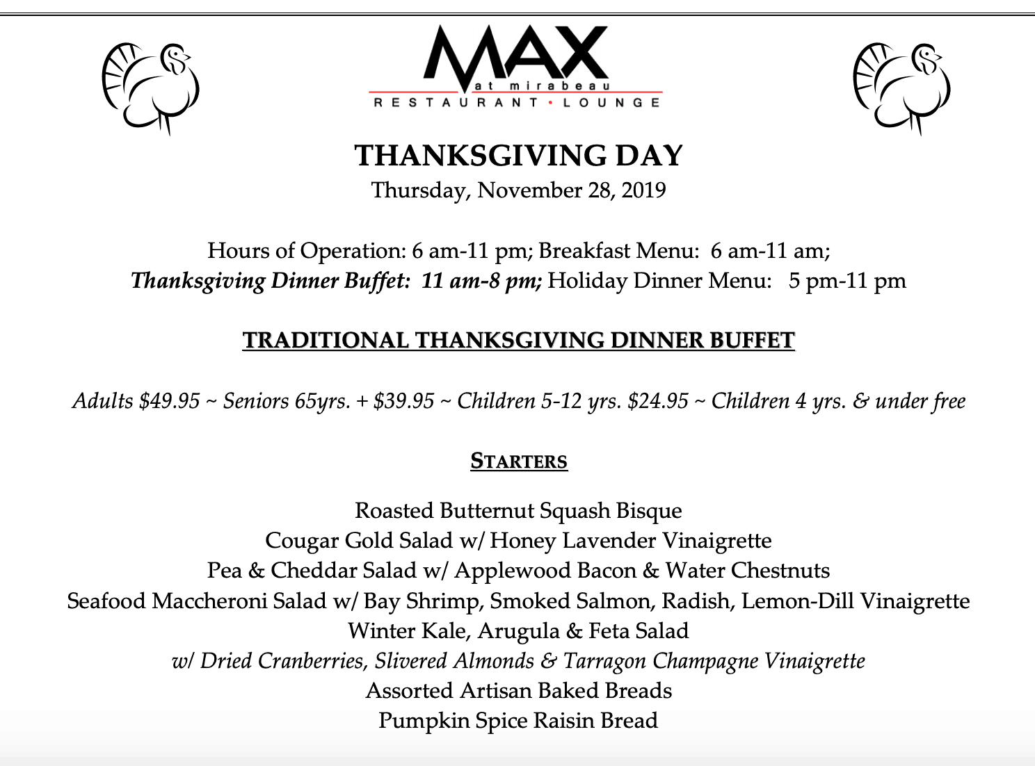 open on thanksgiving Max