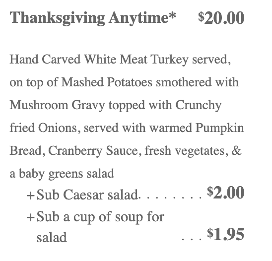 Laguna Cafe thanksgiving menu
