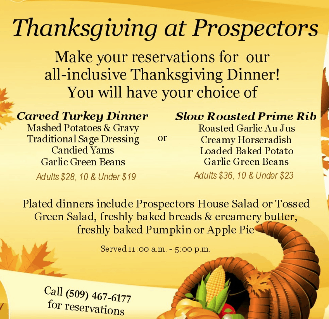 Prospectors Bar and Grill Thanksgiving menu