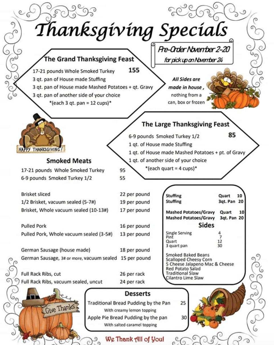 smokeridge bbq thanksgiving menu spokane