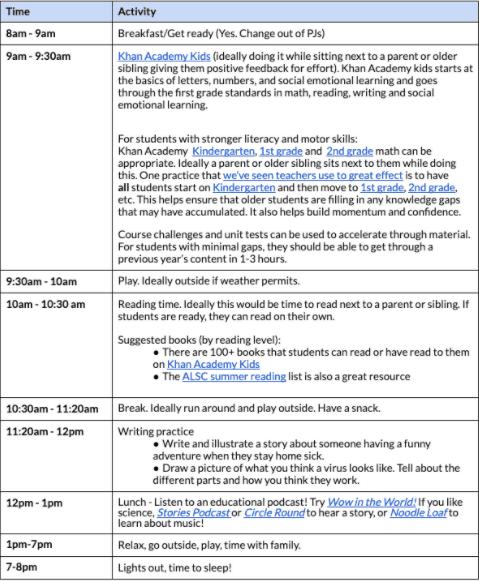 indoor schedule for kids