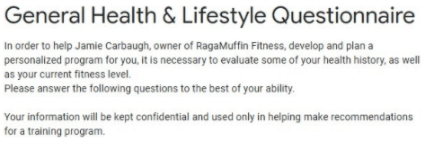 online questionnaire for personal training online