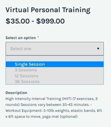 virtual personal training session options