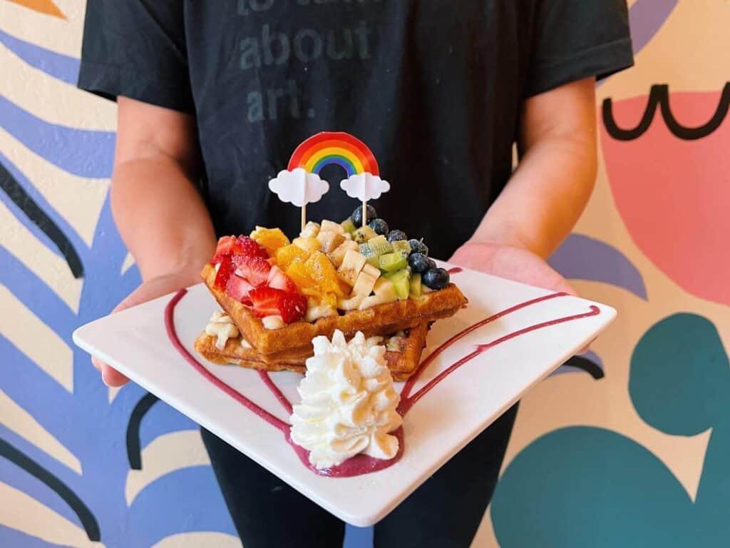breakfast waffle at people's waffle brunch in spokane brunch spots in spokane